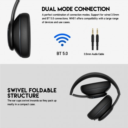 Fantech Headset WH01 / WH-01 Wireless Bluetooth Gaming Headphone for pc laptop and mobile phone